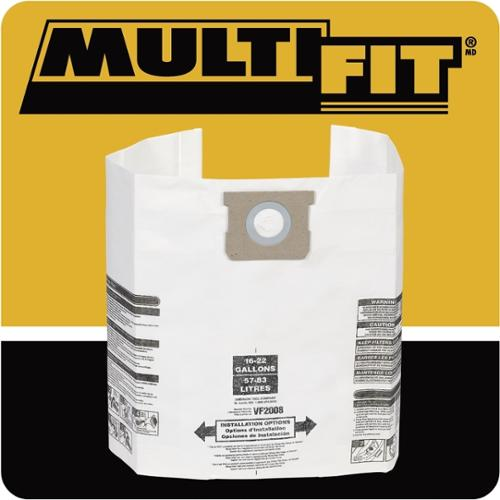WORKSHOP MULTI-FIT VF2008TP 15 - 22-gallon General Wet/Dry Dust Filter Bag (6)