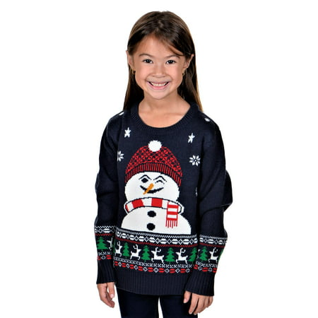 KESIS Children Happy Snowman Ugly Christmas Sweater Dk. Blue