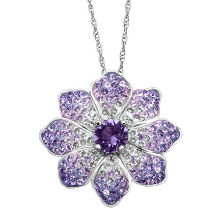 Flower Pendant Necklace with Purple & White Swarovski Crystals in Sterling Silver