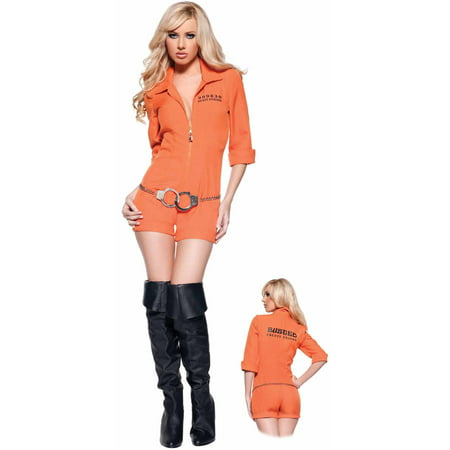 Busted Women's Adult Halloween Costume - Orange Prison Jumpsuit