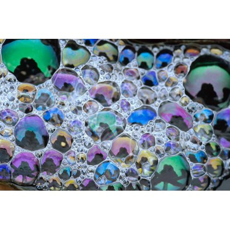 Detail of rainbow-colored bubbles California Poster Print by Tim Fitzharris