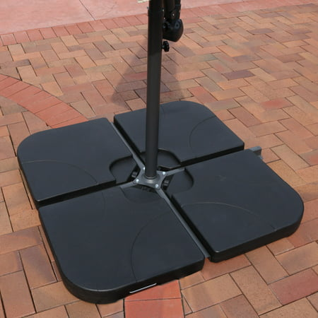 Sunnydaze Heavy Duty Cantilever Offset Patio Umbrella Base Plates Stand Weights For Outdoor Cross Style Bases Set Of 4 Black