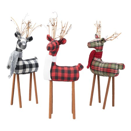 Tacky Christmas Decorations (Holiday Time Large Fabric Deer Table Top Christmas Decorations, Multiple Colors, Set of)