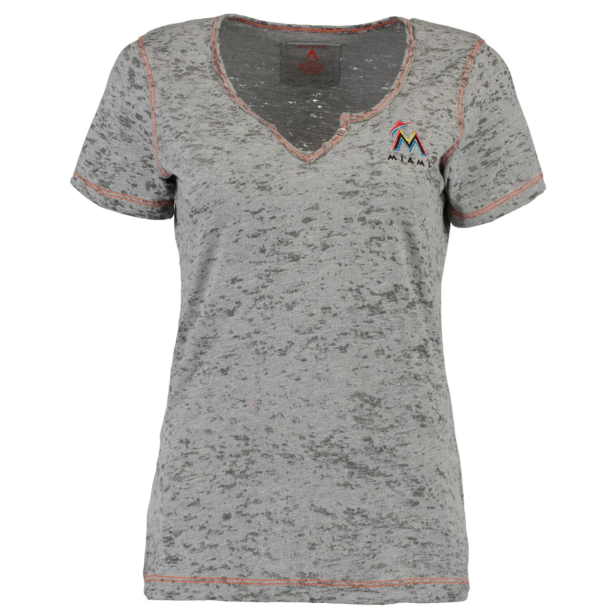 Miami Marlins Antigua Women's Rowdy T-Shirt - Gray
