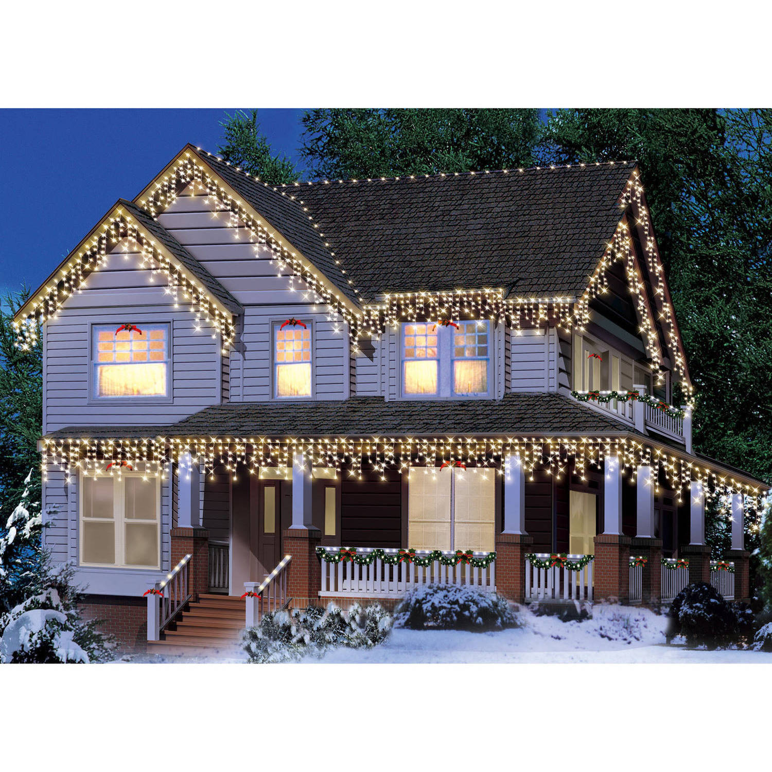 Holiday Time Icicle Light Set White Wire Clear Bulbs, 300 Count
