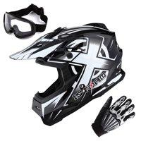 1Storm Adult Motocross Helmet BMX MX ATV Dirt Bike Helmet Racing Style HF801 + Goggle + Gloves Bundle; Sonic White