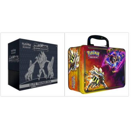 Pokemon Trading Card Game Sun & Moon Burning Shadows Elite Trainer Box and 2017 Spring Collectors Chest Tin Bundle, 1 of Each - Pokemon Container