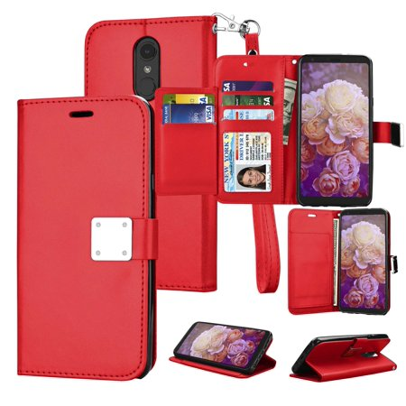 "Njjex Cases 6.2"" LG Q Stylo / Stylo 4 / Stylus 4 / Stylo 4 Plus / Stylus 4 Plus / Q Stylo Plus, Phone Case Leather Flip Credit Card / Cash Wallet Cover Stand Folio Magnet & extra Slots Case - Red"