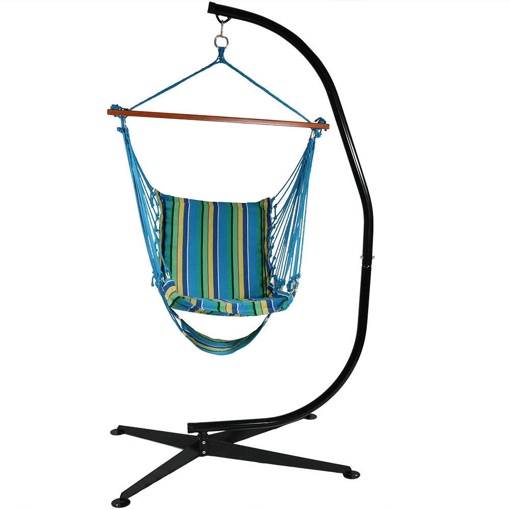 Sunnydaze Hanging Hammock Chair Swing with Footrest, Padded Soft Cushions, Indoor/Outdoor, 330 Pound Capacity, Sunset