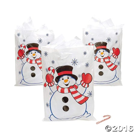 Large Christmas Snowman Plastic Goody Gift Bags - 50 - Large Plastic Christmas Bags