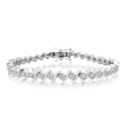 3 8 Carat Diamond S Type Tennis Bracelet Platinum Overlay 7 Inches