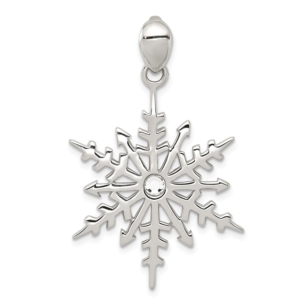 Mireval Sterling Silver Enameled Snowflake Charm on a Sterling Silver Carded Box Chain Necklace 18