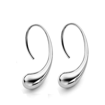 CLEARANCE - Chic Tear Drop Silver or Gold Hook Earrings Silver ()