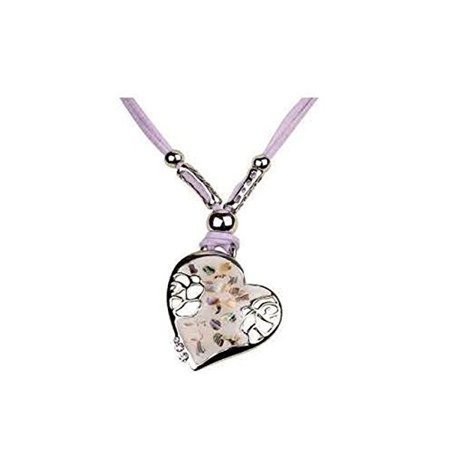 Hypoallergenic Fabric Chain w/ Curb Heart Collar Necklace (Lavender)