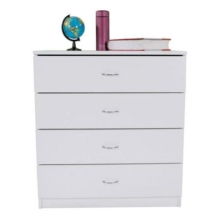 Peralng MDF Wood Simple 4-Drawer Dresser White ()