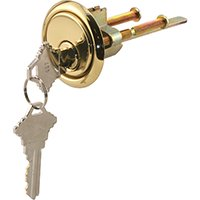 Prime-Line GD 52139 Rim Cylinder Lock with Trim Ring, 5 Pin Lock and Solid Brass Face (Garbage Ring)