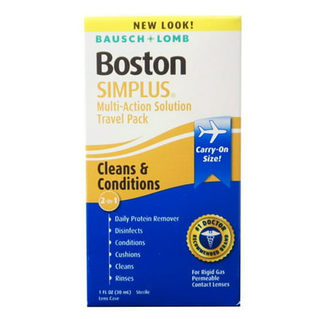 Boston Simplus Multi Action Contact Lens Solution, Travel Kit By Bausch And Lomb - 1 Oz, 2 Pack Boston Simplus Multi Action Contact Lens Solution, Travel Kit By Bausch And Lomb - 1 Oz, 2 Pack ; UPC: 047144073385
