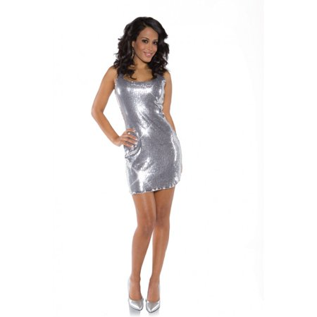 Silver Shimmer Short Sequin Dress Adult Costume X-Large](Shimmer Dress)
