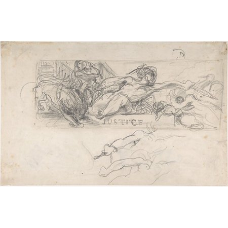 Study for an allegorical figure of Justice in the ceiling decoration of the Salon du Roi Palais Bourbon verso studies of allegorical figures and architectural sketches Poster Print by Eugène Delacroi - Salon Decorations