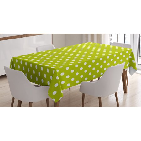 Retro Tablecloth, Vintage Old Fashioned 60s 70s Inspired Polka Dots Pop Art Style Art Print, Rectangular Table Cover for Dining Room Kitchen, 52 X 70 Inches, Lime Green and White, (70s Inspired)