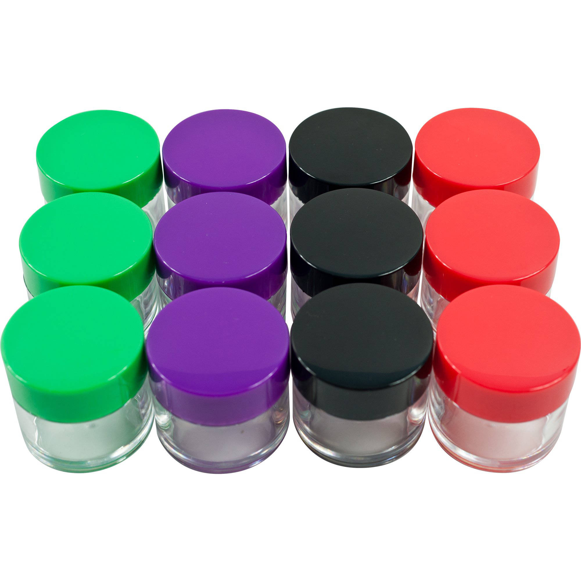 Stalwart 20ml Clear Storage Jars, Colored Lids, 12-Piece
