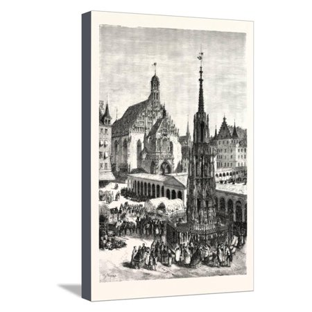 Bavaria Germany Saucer (Schone Brunnen and the Frauenkirche, Nuremberg, Germany. a City in the German State of Bavaria Stretched Canvas Print Wall Art )