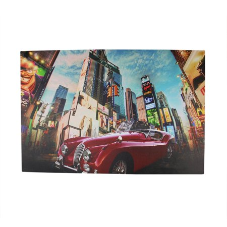 LED Lighted NYC Times Square 7th Avenue Classic MG Car Canvas Wall Art 15.75