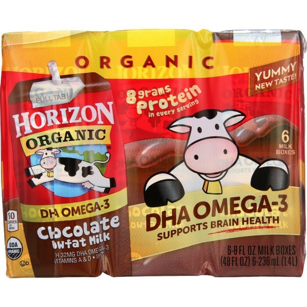 Horizon Organic Dairy Milk - Organic - 1 Percent - Lowfat - Box - Chocolate - Plus Dha Omega-3 - 6/8 Oz - Pack of 3