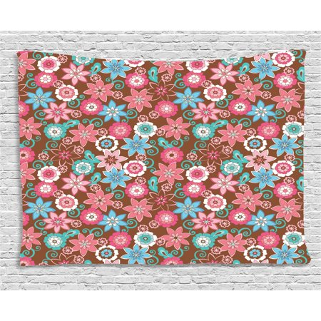 Floral Decor Tapestry, Vibrant Bunch of Various Flower Petals ...
