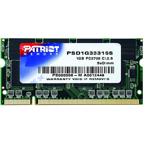 Patriot Memory Signature 1GB DDR 333MHz PC-2700 SoDIMM Memory Module, PSD1G33316S