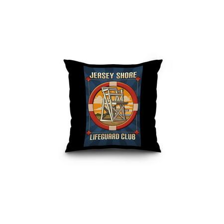 Jersey Shore - Lifeguard Club - Lantern Press Poster (16x16 Spun Polyester Pillow, Black Border)](Funny Jersey Shore)