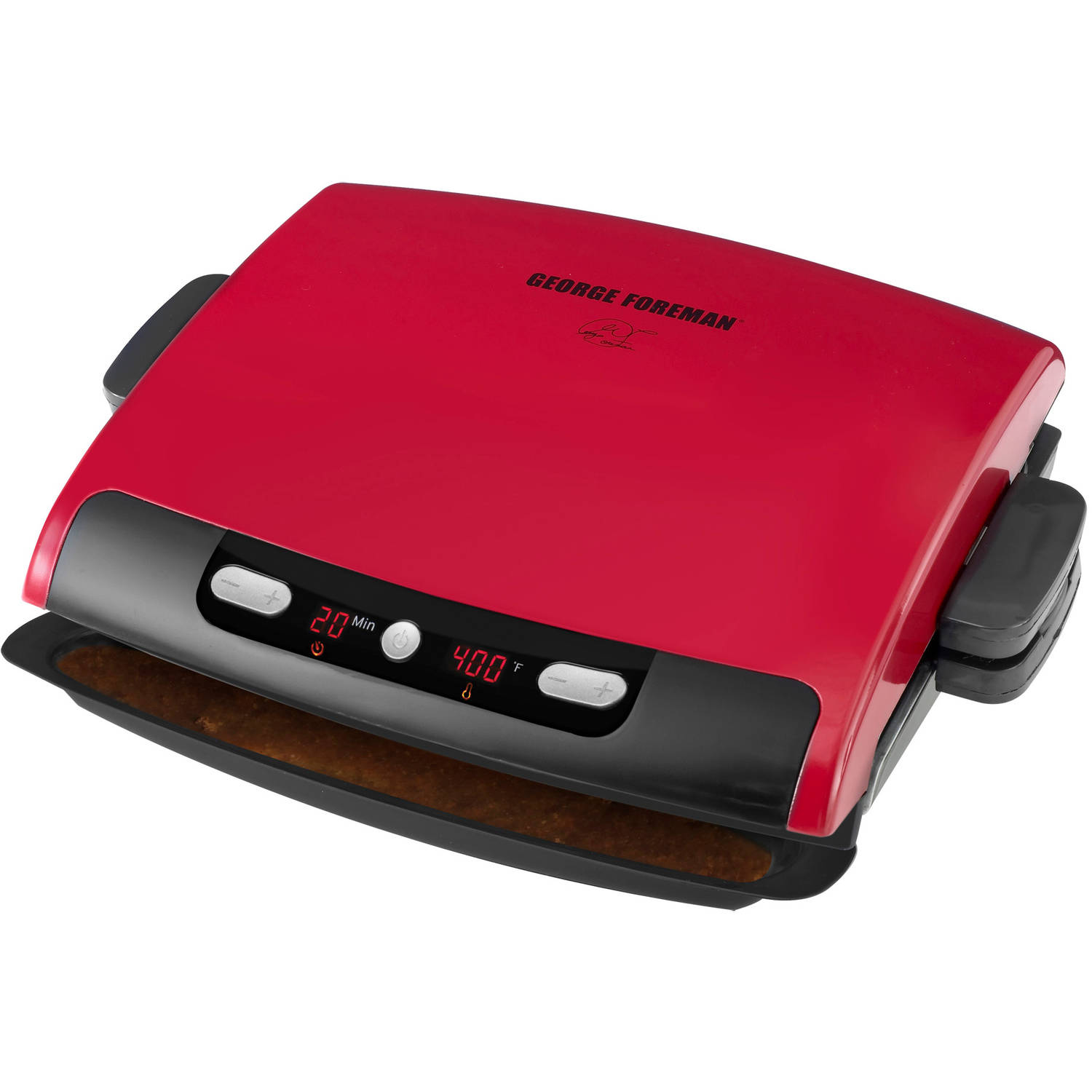 George Foreman 6-Serving Digital Timer & Temp Removable Plate Grill, Red