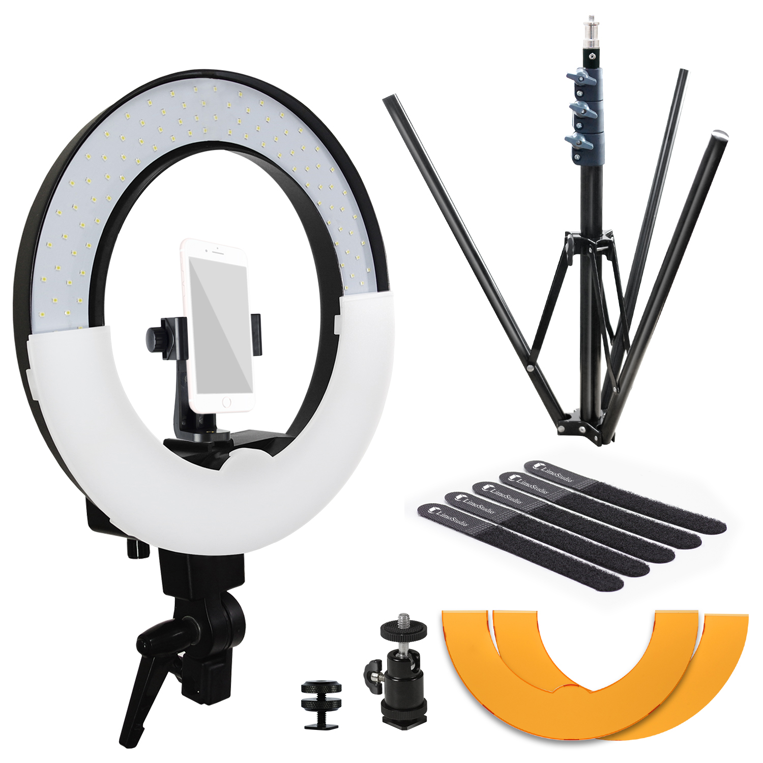 Loadstone Studio 14 inch Diameter LED Ring Light with Heavy Duty Tripod Stand, Secure Phone Mount, 1/4 inch Standard Hot Shoe Mount Adapter Holder for Professional at Home Beauty Shoots, , WMLS4534