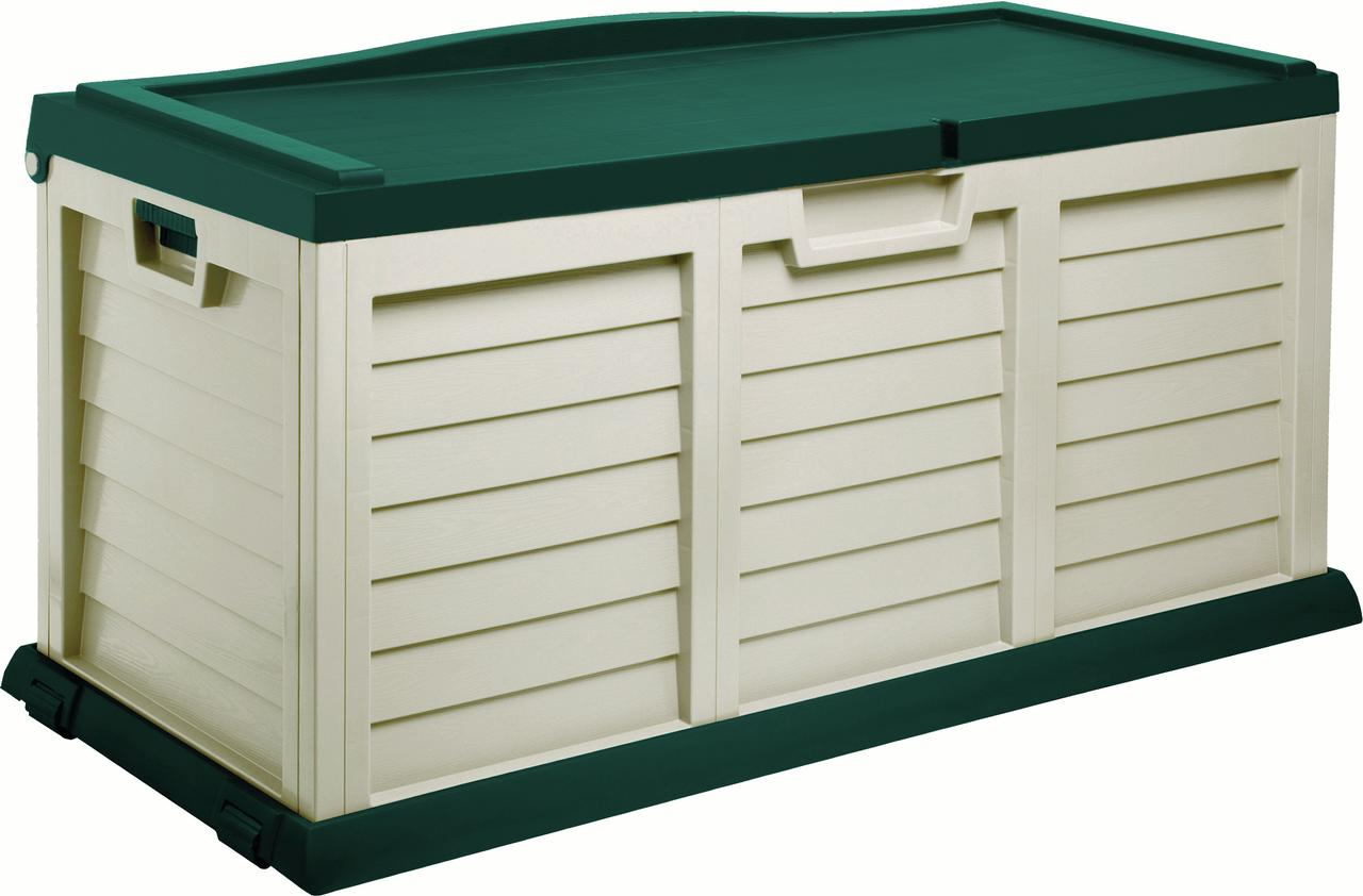103 Gallon Deck Box with Sit-On Cover, Beige Green by Starplast