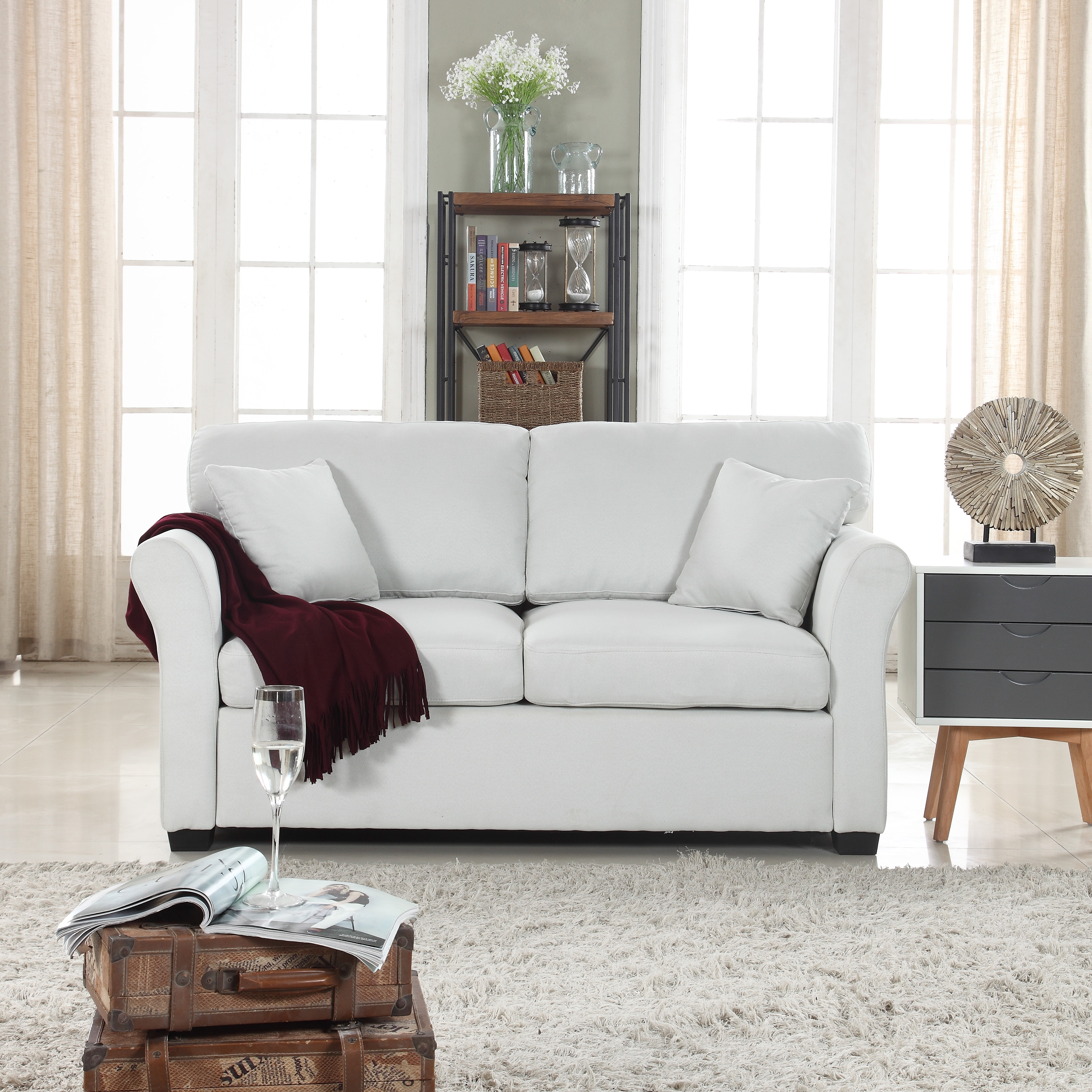 Traditional Ultra Comfortable Linen Fabric Living Room Fabric Loveseat Couch, Ivory