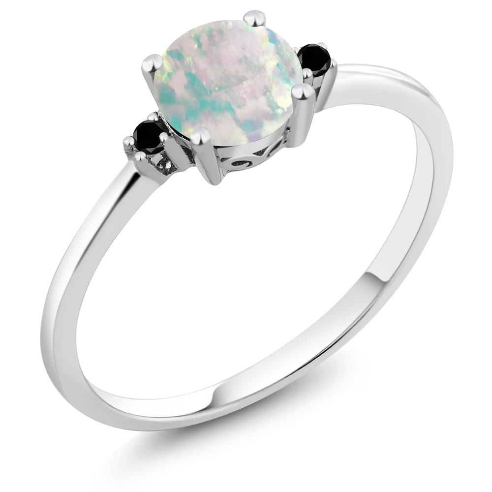 10K White Gold Black Diamond Accent Ring Round White Simulated Opal (0.33 cttw) by