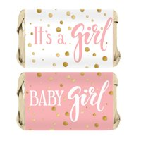 Pink Gold Girl Baby Shower Candy Wrappers 45ct - Pink and Gold Its a Girl Baby Shower Decorations Candy Favors - 45 Count Stickers