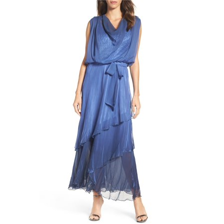 21c6f8035a9 Komarov - Komarov NEW Blue Womens Large L Tiered Charmeuse Chiffon Maxi  Dress - Walmart.com