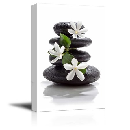 Zen Magnolia - wall26 Canvas Prints Wall Art - Zen Basalt Stones with Calming Magnolia Flowers | Modern Wall Decor/Home Decoration Stretched Gallery Canvas Wrap Giclee Print. Ready to Hang - 12