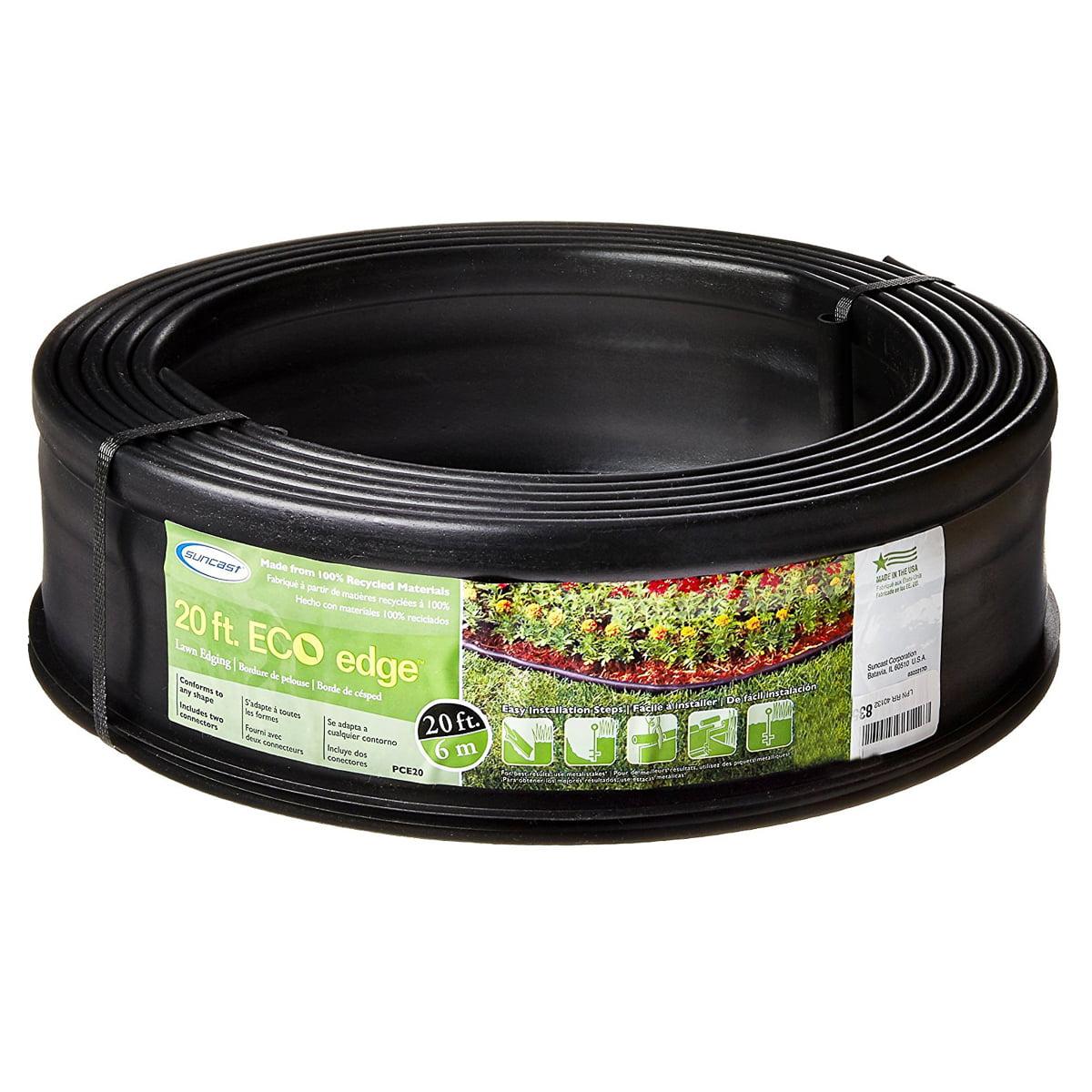 "Suncast 20ft x 5""H Garden Landscape Edging Easy Install Weather-Resistant Lawn Edging Border Black Plastic"