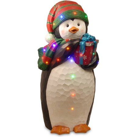 National Tree 41 5  Penguin Holding Gift With Blue Ribbon  Red And Green Hat And Scarf With 20 Multi Led