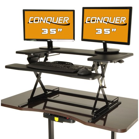 conquer height adjustable standing desk monitor riser 35 desktop sit to stand workstation - Height Adjustable Standing Desk
