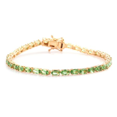 "Vermeil 925 Sterling Silver Yellow Gold Plated Oval AA Premium Tsavorite Garnet Bracelet Jewelry Women Gift Size 7.25"" Ct 7.2"