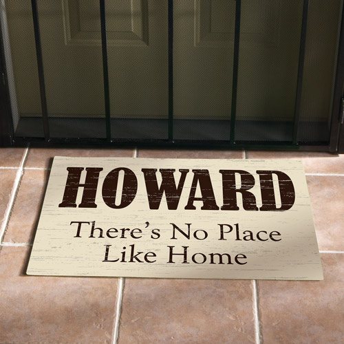"""Personalized """"No Place Like Home"""" Doormat, Cream, 24"""" x 36"""""""