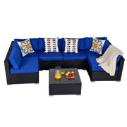 7 Pieces Patio Furniture Set Outdoor Rattan All Weather Sectional Wicker Sofa Sets with Turquoise Royal Blue Cushions