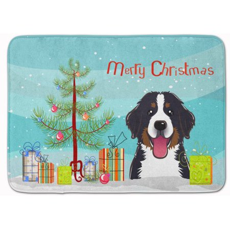The Holiday Aisle Christmas Tree and Bernese Mountain Dog Memory Foam Bath Rug