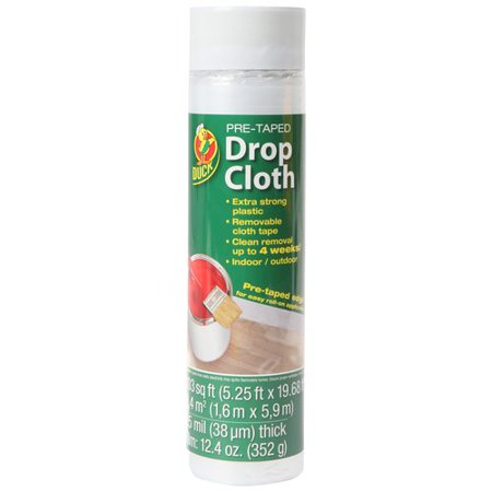Duck Brand Extra Strong Pre-Taped Drop Cloth, Clear, 5.25 ft. x 19.68