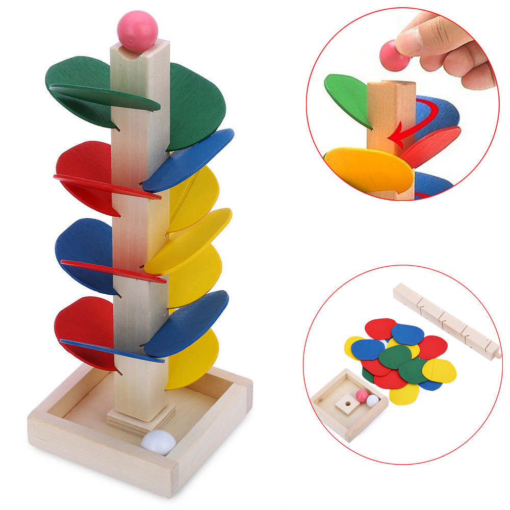 1pc Ball Run Track Game Toy Wooden DIY Mini Tree Baby Kids Educational Toy