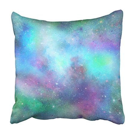 EREHome Pink Mermaid Blue and Green Outer Space Galaxy in Purple Sky Abstract Cosmic Pillowcase Cushion Cover 20x20 inch - image 1 of 1