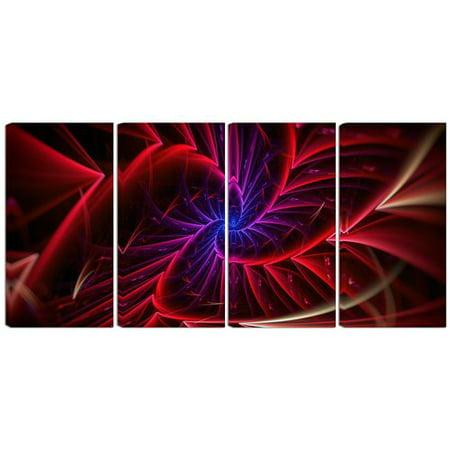 Design Art Metal 'Purple/Red Entanglement Abstract' 4 Piece Graphic Art Set ()